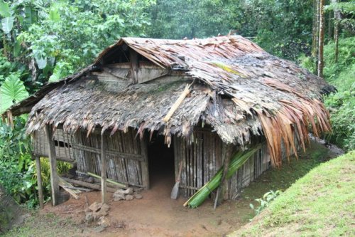 A typical wooden house in Marone village. All building suplies must be brought in by hand over a treacherous 800 meter ascent.
