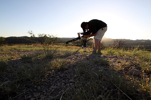 "Martin gets a wide shot of a Pogo nest at sunset using the ""Megascope"""